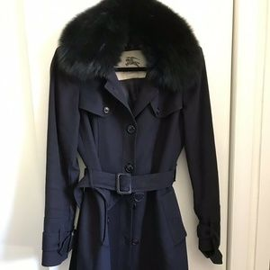 BURBERRY Navy Wool Jacket W/ Fox Fur Small